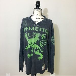 Affliction long sleeve Henley lop. Gray